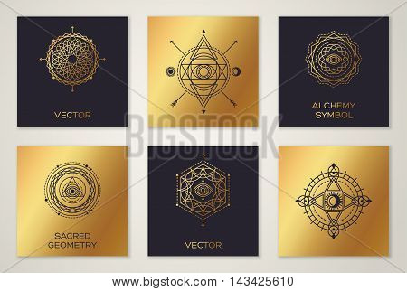 Set of Sacred Geometry Minimal Geometric Shapes. Black and Gold Color Trendy Hipster Icons and Logo, Business Sign or Label. Vector Illustration.