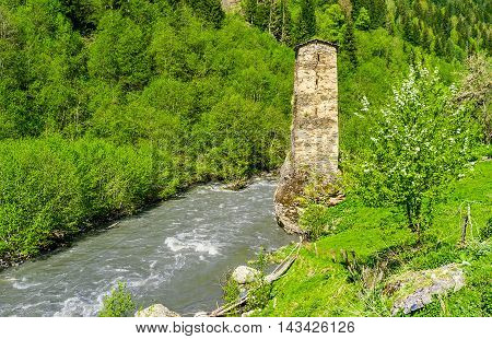 The Love tower in Kala village is the nice example of Svan towers the visit cards of Samegrelo-Zemo Svaneti Georgia.