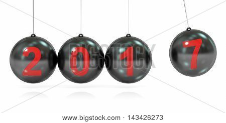 Happy New Year 2017 concept balancing balls Newton's cradle. 3D rendering isolated on white background