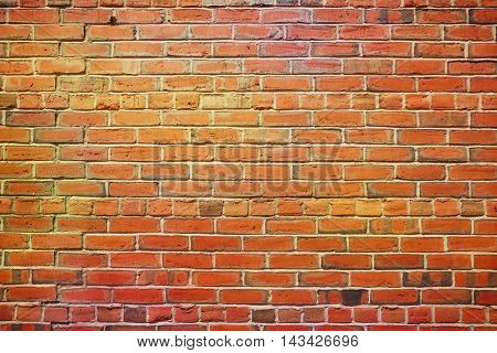 Empty old red brick and cement wall background