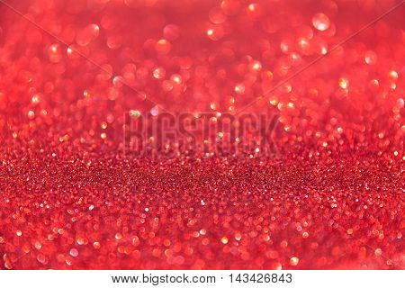 Dreamy red blur bokeh background with lights