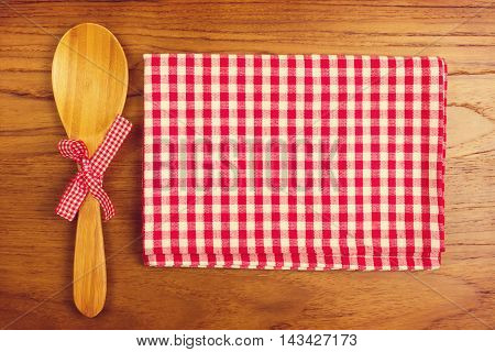 Tablecloth and wooden spoon for cooking anf baking