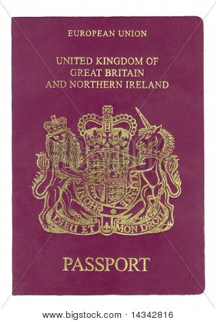Passport from United Kingdom with clipping path