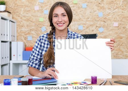 Girl With Braided Hair And Placard