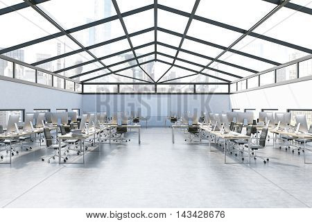 Office Interior With Blue Wall