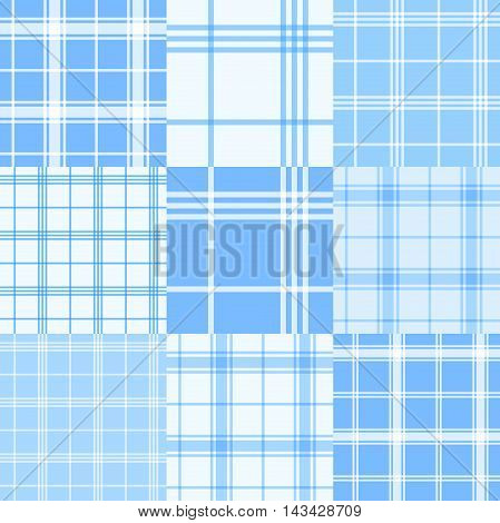 Vector set of nine blue and white tartan seamless patterns.