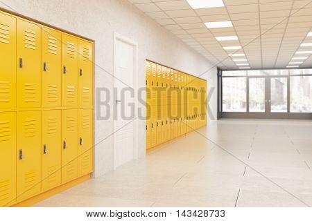 Lockers And Door In School Corridor