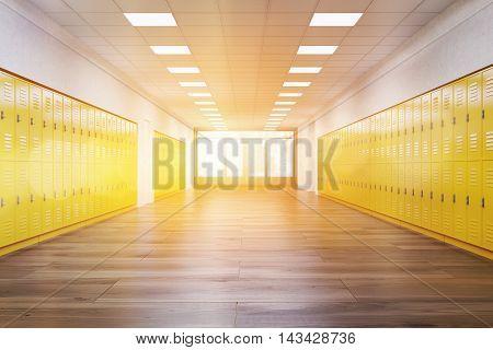 Sunlit School Corridor
