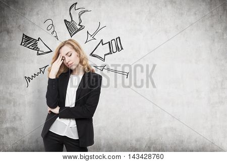 Woman thinking hard. Arrows pointing at her from different directions. Concept of stressful day at work