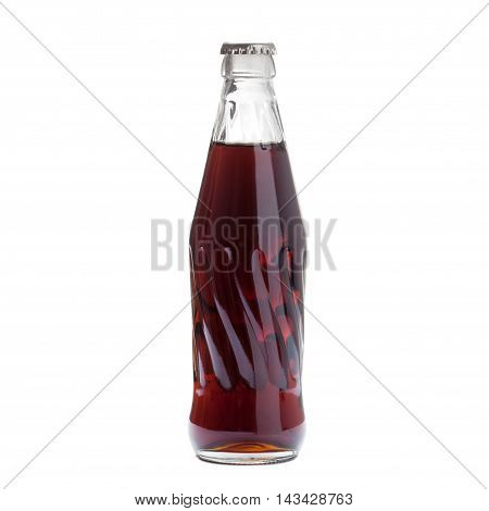 Cold Soda Water In Bottle With Cover Isolated On White Backgroun