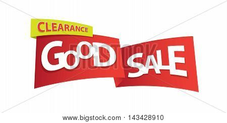Good Sale Ribbon Tag  Heading Design And Textbox For Banner Or Poster. Sale And Discounts Concept. V