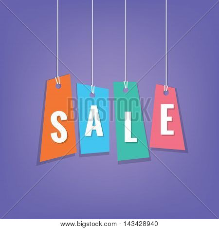 Color Sale Tag Hanging Mobile Heading Design On Purple Backdround For Banner Or Poster. Sale And Dis