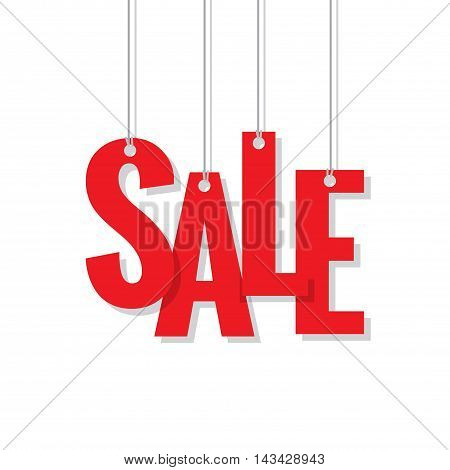 Red Sale Hanging Mobile Heading Design On White Backdround For Banner Or Poster. Sale And Discounts