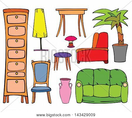 Set of furniture. Cartoon vector colored illustration.