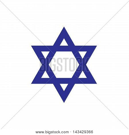 Blue star icon. Star of David icon, Israel symbol. Israel flag detail. Blue star of David isolated on white background. Jewish history. Vector Illustration for Independence Day is the national day of Israel.