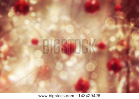 Christmas celebration bokeh background with holiday decorations