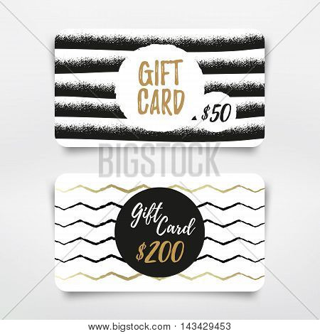 Modern Gift card set design. Vector template.
