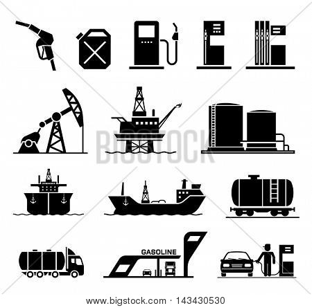 Collection of icons presenting equipment and parts of manufacturing plant used in oil industry. Collection of premium quality pictograms