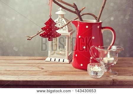 Vintage style Christmas table decoration on wooden table