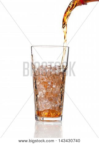 Cola Pouring In A Glass, Isolated On White Background