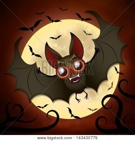 Halloween vector background with moon and bats.