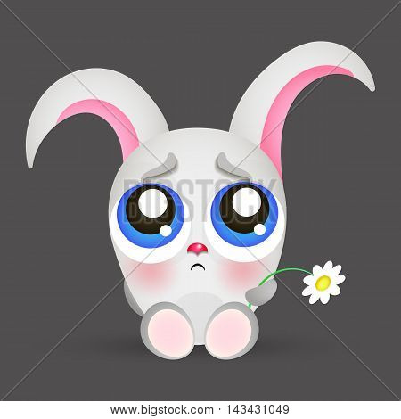 Portrait of a sad rabbit sticker emotions