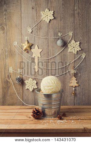 Christmas tree made from yarn. Alternative Christmas tree