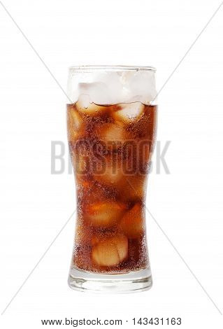 Tall Glass With Cola Drink With Chunks Of Ice Isolated On White