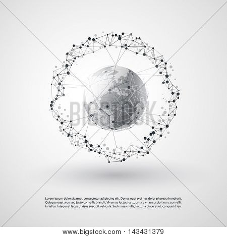 Abstract Cloud Computing and Global Network Connections Concept Design with Transparent Geometric Mesh, Wireframe Sphere - Illustration in Editable Vector Format