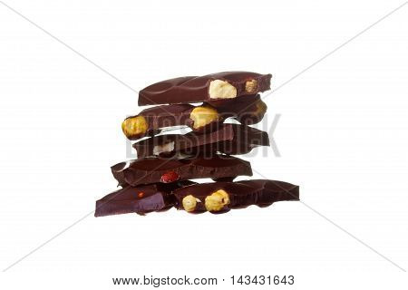 Chocolate Pieces With Nuts, Isolated On White Background