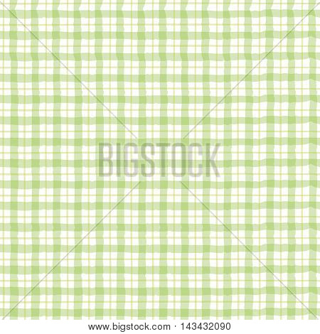 Green checkered pattern green gingham pattern on white background