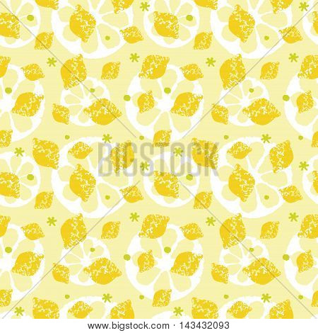 Lemon and sliced lemon pattern in yellow and green