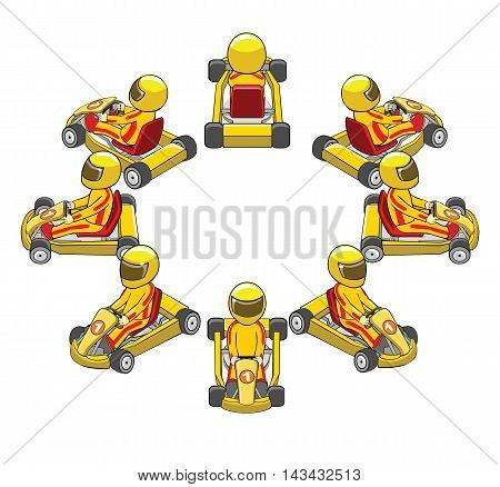 Set of racing car of various angles. Cartoon vector illustration.