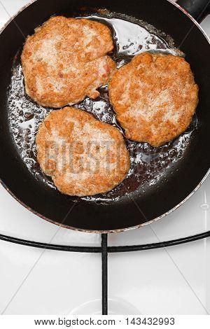 Fresh Juicy Grilled Meat Patties In A Frying Pan