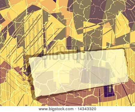 Editable vector design of an abstract city with banner