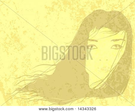 Editable vector illustration of a female head watermark and grunge