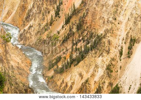 A wild Yellowstone River cuts through a vast canyon