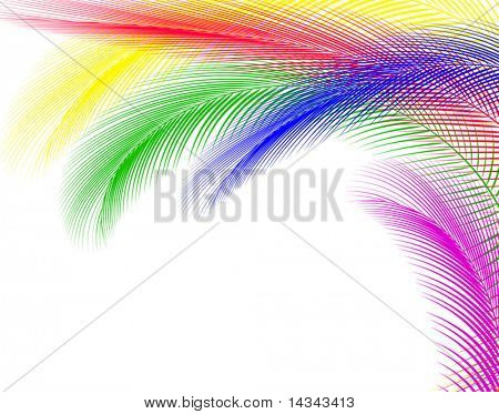Abstract editable vector illustration of colorful feathers
