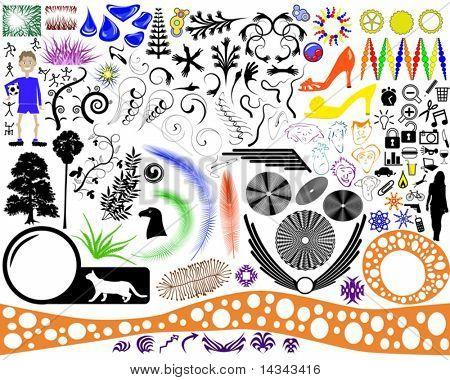 Eine vielfältige Sammlung von bearbeitbaren Vektor-grafische Elemente