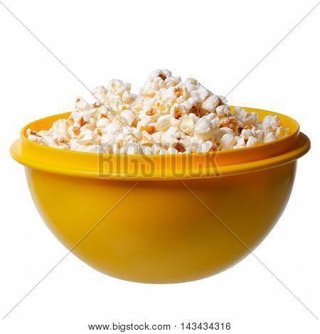 Popcorn In A Yellow Bowl On White Background