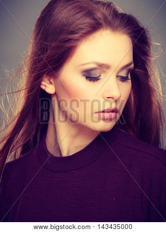 Glamorous Stunning Woman With Waving Hair.