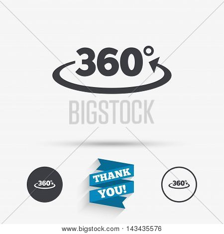 Angle 360 degrees sign icon. Geometry math symbol. Full rotation. Flat icons. Buttons with icons. Thank you ribbon. Vector