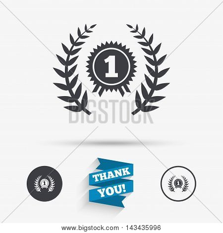First place award sign icon. Prize for winner symbol. Laurel Wreath. Flat icons. Buttons with icons. Thank you ribbon. Vector