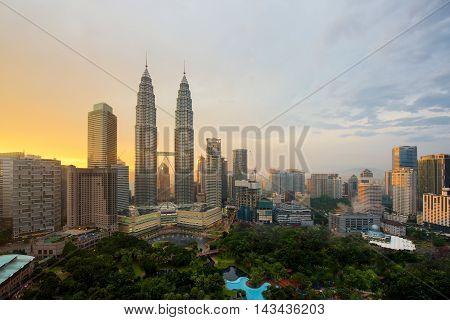 Kuala lumpur city skyline at sunset in Kuala lumpur Malaysia. Kuala lumpur skyscraper building in Malaysia