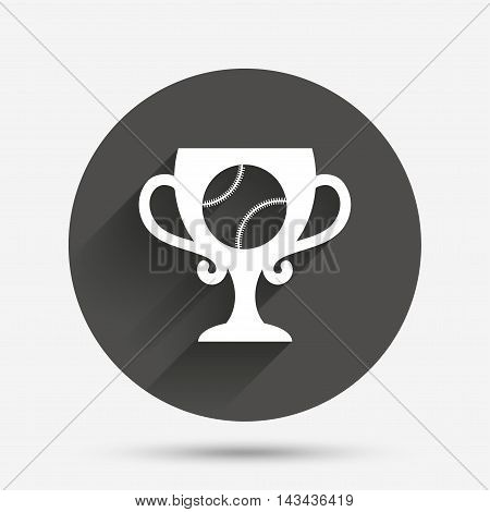 Baseball sign icon. Sport symbol. Winner award cup. Circle flat button with shadow. Vector