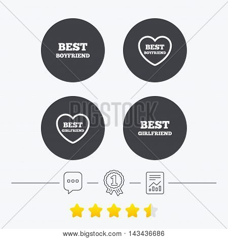 Best boyfriend and girlfriend icons. Heart love signs. Award symbol. Chat, award medal and report linear icons. Star vote ranking. Vector