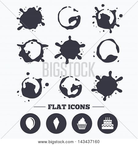 Paint, coffee or milk splash blots. Birthday party icons. Cake with ice cream signs. Air balloon symbol. Smudges splashes drops. Vector