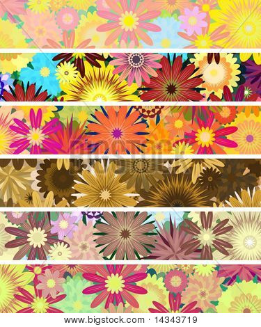 Set of editable vector banners of flowers