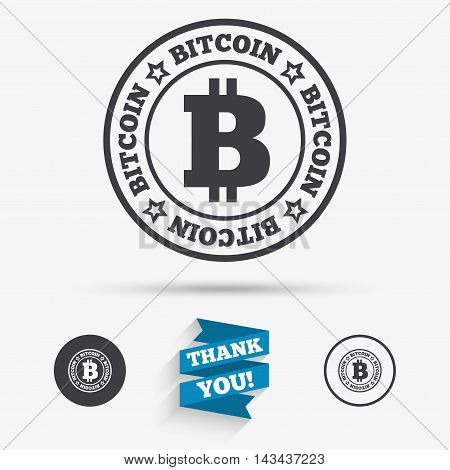 Bitcoin sign icon. Cryptography currency symbol. P2P. Flat icons. Buttons with icons. Thank you ribbon. Vector