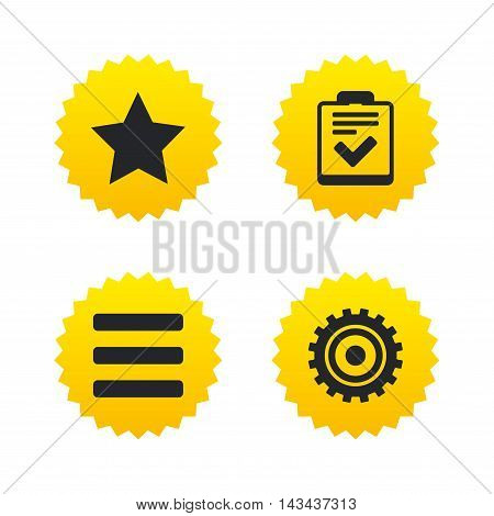 Star favorite and menu list icons. Checklist and cogwheel gear sign symbols. Yellow stars labels with flat icons. Vector